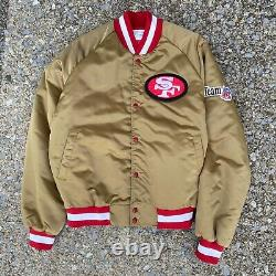 RARE VTG San Francisco 49ers Gold Chalk Line Team NFL Satin Jacket Medium