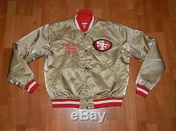 SAN FRANCISCO 49ERS NFL GOLD Satin STARTER JACKET SZ Large