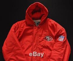 SAN FRANCISCO 49ERS Parka Hooded Jacket STARTER Vintage NFL Red Mens L