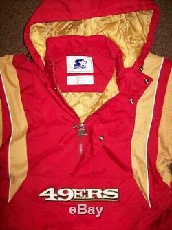 SAN FRANCISCO 49ERS Starter Hooded Half Zip Pullover Jacket S M LXL 2X RED