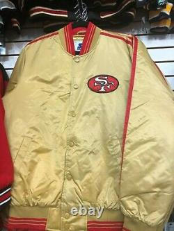 SAN FRANCISCO 49ERS Starter Throwback Snap Down Jacket GOLD ALL SIZES S-6XL