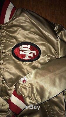 SF 49ers VTG REVERSIBLE Gold & Black Satin Starter Jacket EXTREMELY RARE XL