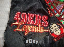 SF San Francisco 49ers Vintage TEAM LEGENDS Black Satin Jacket XL 1992 Nice