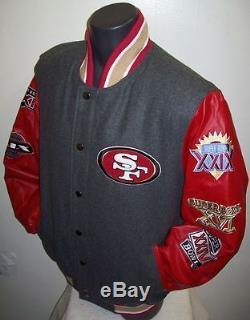 San Francisco 49ERS Super Bowl Championship Wool & Leather Jacket M L XL 2X