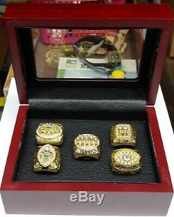 San Francisco 49ers 5 Super Bowl Rings With Wooden Display Montana Rice Young