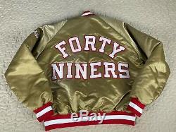 San Francisco 49ers Chalkline Satin Bomber Vintage Jacket Mens Sz XL Big Logo