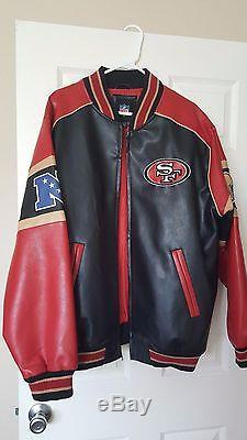 San Francisco 49ers Faux Leather Jacket Size XL Brand New red