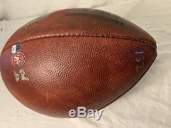 San Francisco 49ers Game Used Football November 11, 2016 vs Patriots Two COAs