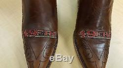 San Francisco 49ers Ladies Brown Leather Boots size 5.5-11 Stitched Cowboy Round