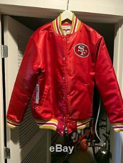 San Francisco 49ers Mitchell & Ness Authentic Throwback Satin Jacket SMALL