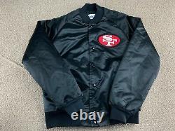 San Francisco 49ers Satin Jacket S Chalk Line Coat Black Football jersey hat VTG