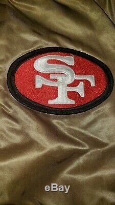 San Francisco 49ers Satin Starter Jacket Vintage Medium Throwback CHALKLINE