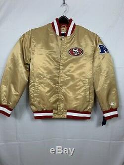 San Francisco 49ers Starter Gold Satin Bomber Jacket Size XL