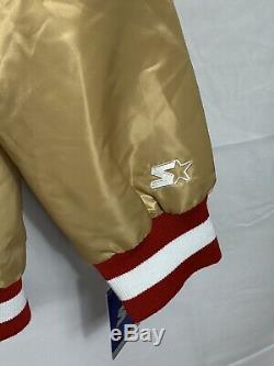 San Francisco 49ers Starter Gold Satin Bomber Jacket Size XXL
