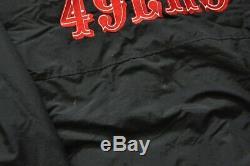 San Francisco 49ers Starter Heavy Parka Jacket Quilted Lining Hood Men Black M