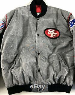 San Francisco 49ers Starter Snap Bomber Jacket Gray Marble Red Vintage Size L