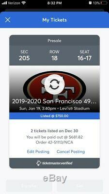 San Francisco 49ers VS Packers, 2 Tickets 1/19/20 Section 205, Row 18 (not 19)