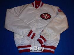 San Francisco 49ers White Shiny Satin Jacket Starter Brand Vintage Large L RaRe