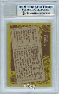 Steve Young 1986 Topps Football HOF Insc Autograph Auto Rookie Card 374 BAS 10