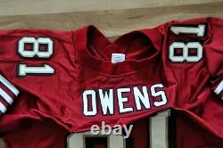 Terrell Owens T. O. San Francisco 49ers Jersey Red Reebok Authentic Sewn 54 2xl