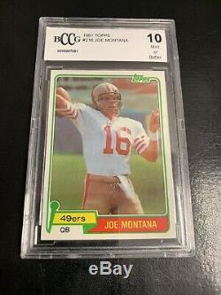 Topps 1981 Joe Montana BCCG 10 Mint Or Better Rookie Card