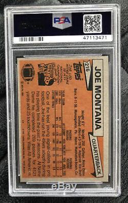 Topps 1981 Joe Montana San Francisco 49ers RC Rookie #216 PSA 9! Awesome Card