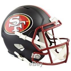 Unsigned 49ers Flat Matte Black Full Size Speed Replica Helmet 148088