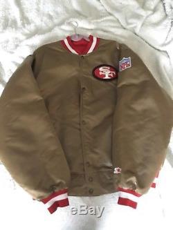 VINTAGE AUTHENTIC SAN FRANCISCO 49ERS GOLD STARTER JACKET 3xl NFL xxxl rare