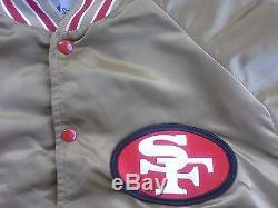 VTG RARE 80s San Francisco 49ers Stahl Urban satin jacket gold 90s starter hat L