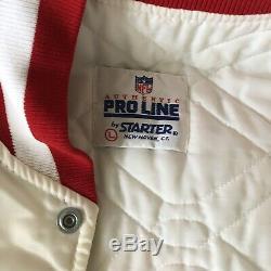 VTG San Francisco 49ERS White Starter Satin Jacket RARE (SZ. L)