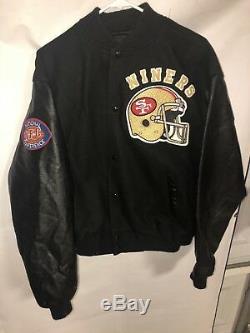 VTG San Francisco 49ers Chalk Line Letterman Jacket XL Near Mint Leather Sleeves