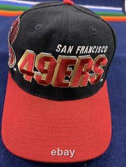 Vintage 49ers Sports Specialties Shadow Black Dome Logo NFL Snapback Hat Cap 90s