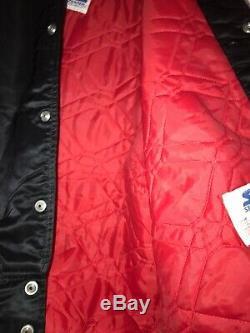 Vintage 80s SF 49ers Black STARTER Satin Jacket Big Logo USA Made Sideline Pro