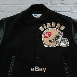 Vintage 80s San Francisco 49ers Leather Wool Varsity Jacket Chalk Line Black