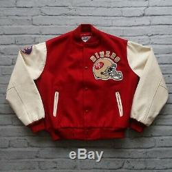 Vintage 80s San Francisco 49ers Leather Wool Varsity Jacket Chalk Line Red
