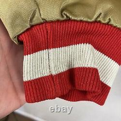 Vintage 90's STARTER NFL SF San Francisco 49ers Gold Satin Jacket Adult Sz Large