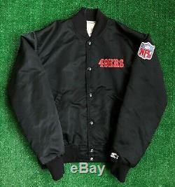 Vintage 90's San Francisco 49ers Starter Black Satin NFL Jacket Medium Big LOGO