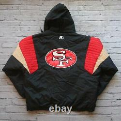 Vintage 90s San Francisco 49ers Pullover Parka Jacket by Starter Size XL Black