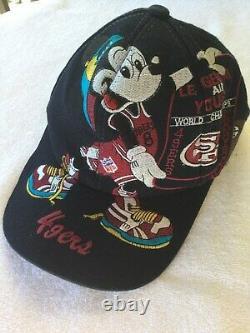 Vintage Big Logo San Francisco 49ers Mickey Mouse Snapback Hat Cap NFL Disney