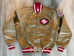 Vintage Mens Starter Gold San Francisco 49ers Satin Jacket Size XL