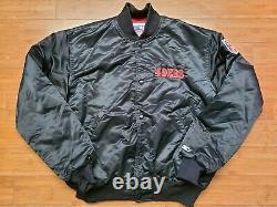 Vintage Mens Starter San Francisco 49ers Big Logo Satin Jacket Size XL-Black