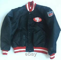 Vintage STARTER Pro Line SF San Francisco 49ers Rare Black Satin Jacket Large