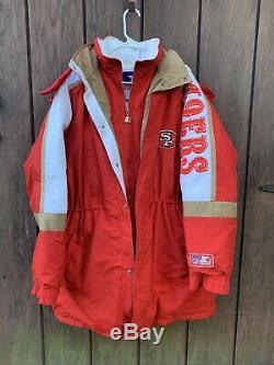 Vintage Starter San Francisco 49ers Down Parka Hoodie Jacket- XL