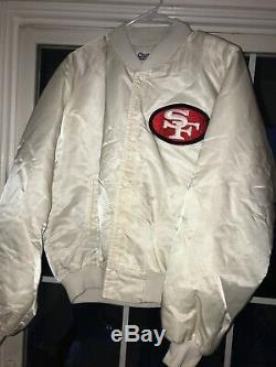 Vtg 90s SF 49ers Satin Jacket Chalk Line Xl USA White Pro Team Edition Big Logo