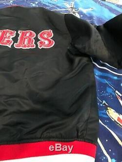 Vtg 90s SF 49ers Satin Starter Black Jacket Old English Script Logo USA Made