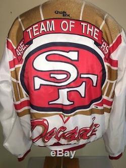 Vtg San Francisco 49ers Chalk Line Fanimation Jacket Team Of The Decade Sz L